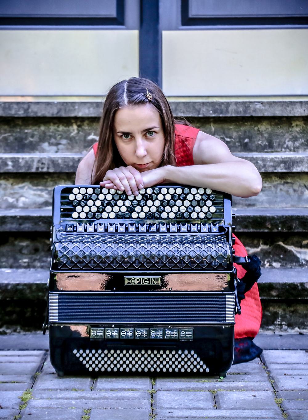 Reet Laube - an accordionist; Pigini Accordion