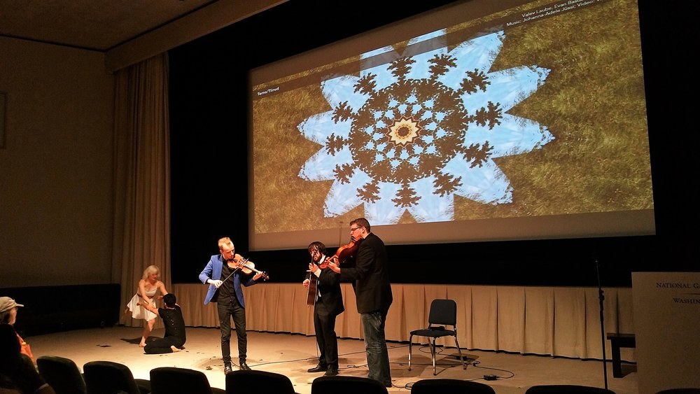Joint performance by Diina Tamm (dance), James Koroni (dance), Valev Laube (violin), Reid Zuckerman (guitar), and Evan Basta (viola). (May 3rd, National Gallery of Art, Washington DC)