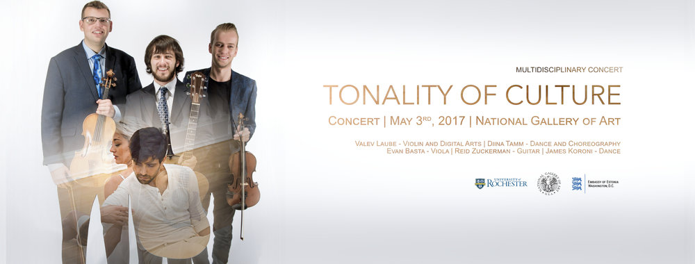 "Multidisciplinary Concert ""Tonality of Culture"" at the National Gallery of Art (Washington DC) ft. Valev Laube, Diina Tamm, Evan Basta, Reid Zuckerman, and James Koroni"