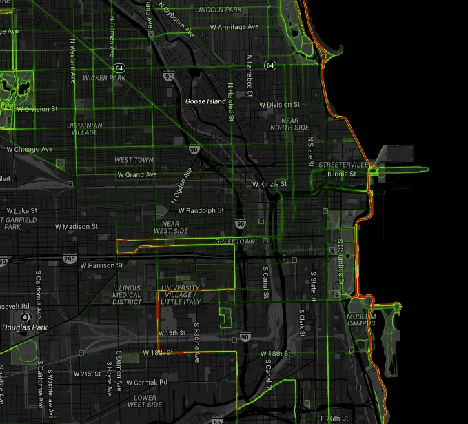 Strava runners in Chicago