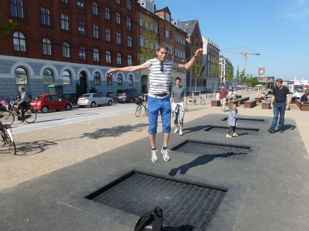 Sidewalk trampolines attracted users of all ages in front of my hotel in Copenhagen.