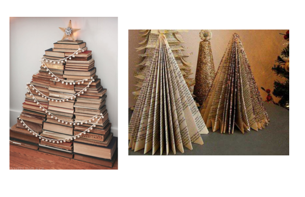 Using things around the house is always a good idea. Have some old books lying around? Use the paperback ones to make a DIY tree that would look great on a mantle or as a centerpiece to a table. Or take those dusty hard cover books, add a stand of lights and make a unique vintage themes tree.