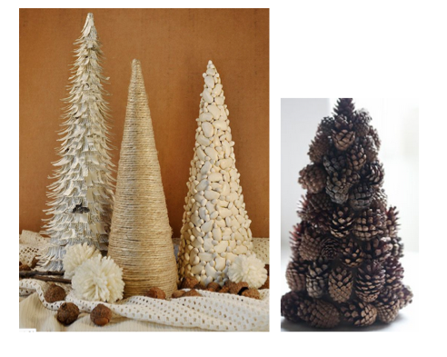 Now if you're in the mood for some arts and crafts, or have some little ones who might be this idea is perfect. Cut some old cereal boxes or purchase some inexpensive cones from a dollar or department store and use different nuts, pine cones, ornaments, yarn, glitter, ribbon to decorate mini trees!