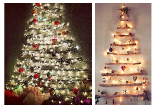 Now if space is the issue that is making a live, or fake, tree unrealistic, look for a wall! Hanging Christmas cards or lights on the wall in the shape of a tree can still give off the same look and feel.