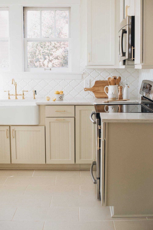 Upper Cabinets: BM White Dove | Lower Cabinets: BM Coastal Fog | Sarah Catherine Design