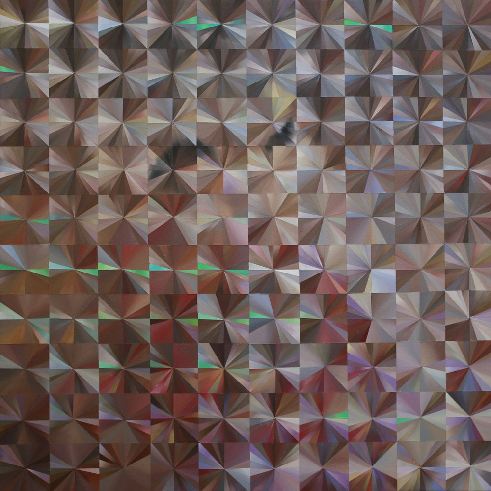 "Holographic Study of Face, 2015  acrylic on canvas 36"" x 36"""