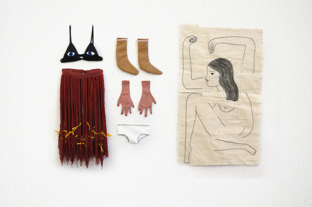 "Chelsea O'bryne Identity Suit/I looked inside myself and saw what wasn't there, 2016 mixed textile media, glue, fake nails, fake eyelashes and beads, embroidery on canvas 10.2"" x 11.3"" (bra); 7.5"" x 8.7"" (underwear); 11.4"" x 23.6"" (skirt); 7.3"" x 10.2"" (sock, each); 5""x 9.6"" (glove, each); 21"" x 32"" (canvas)"