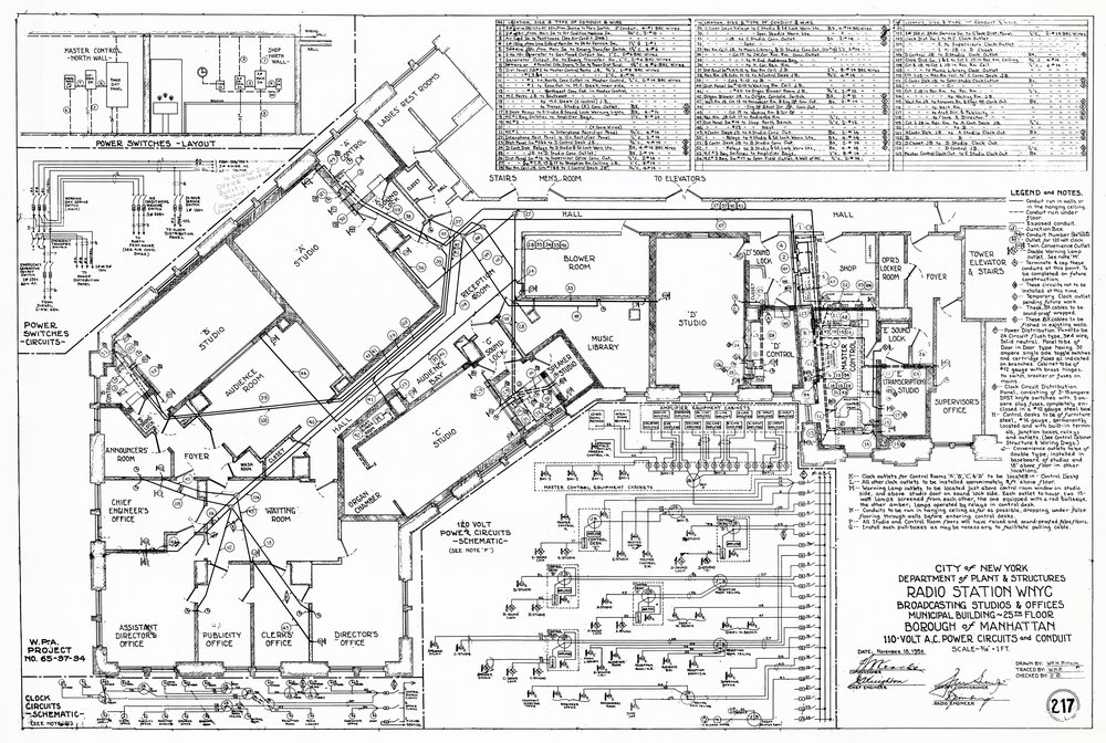 Former WNYC floor plan blueprint