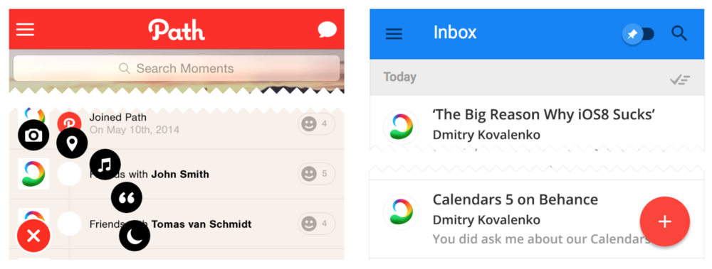4.2. Matbutt. Old version of  Path  on the left and  Inbox by Gmail  on the right.