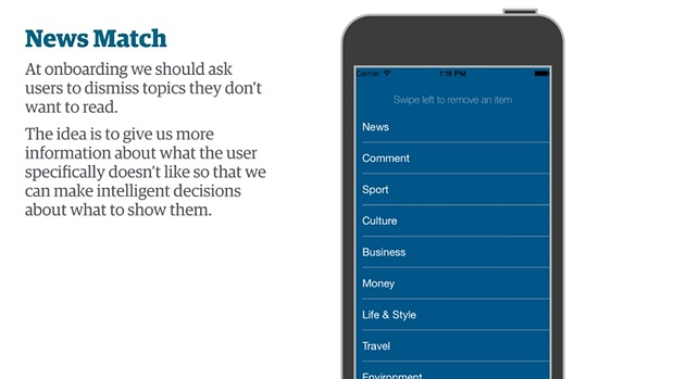 A concept where the Guardian app could let the user pick what subjects they wanted on their homepage and navigation.