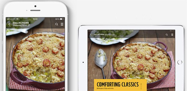 Jamie Oliver's Recipes iOS app with a Hamburger Menu icon on the right corner.