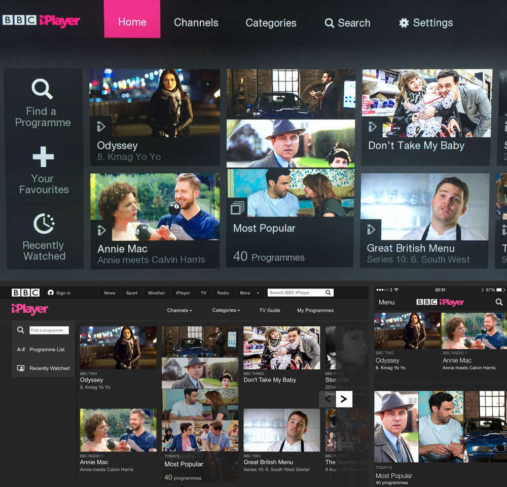 In rough size order: the iPlayer Samsung TV app, desktop site and iPhone app