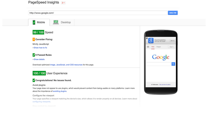 PageSpeed Tools — Google.