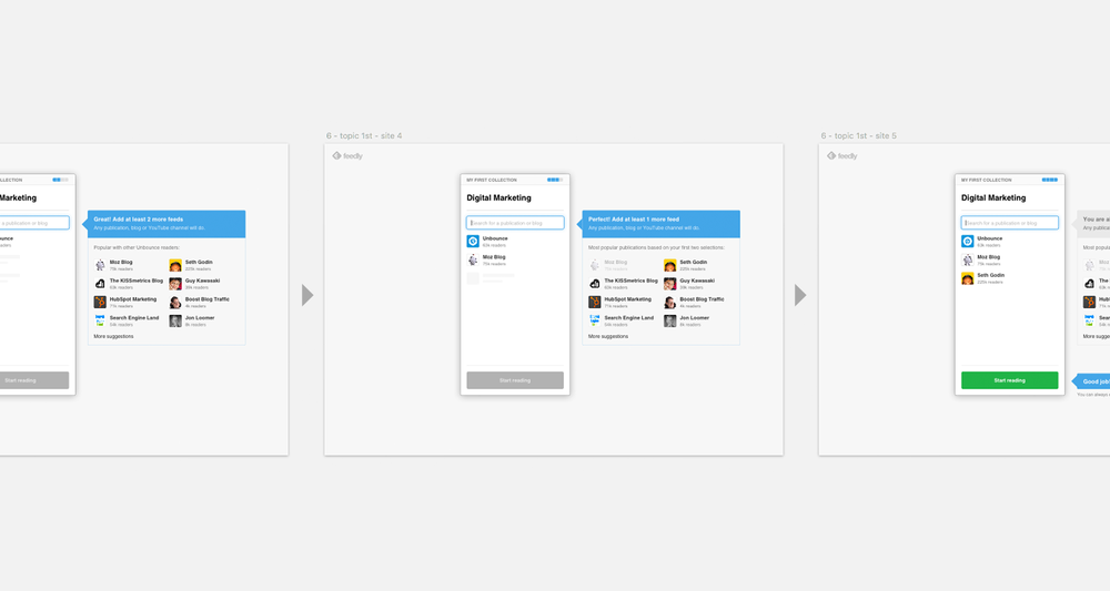 Feedly's onboarding user flow in Sketch