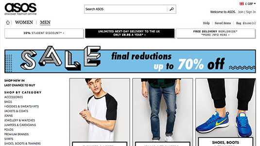 The sale banner from ASOS is a continuation of the site style which draws the eye