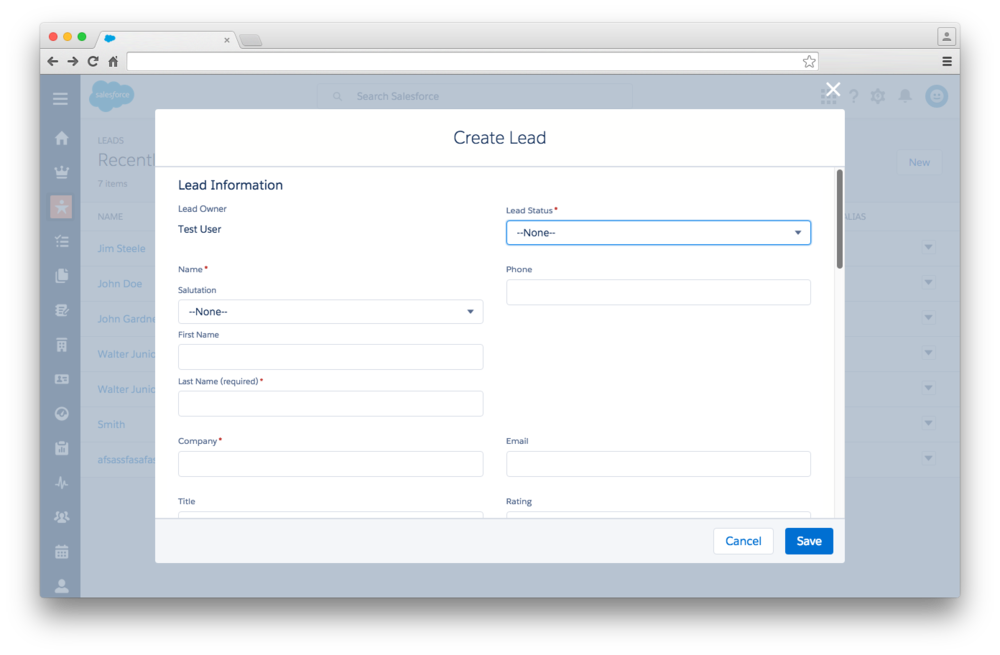 Creating a new lead in Salesforce