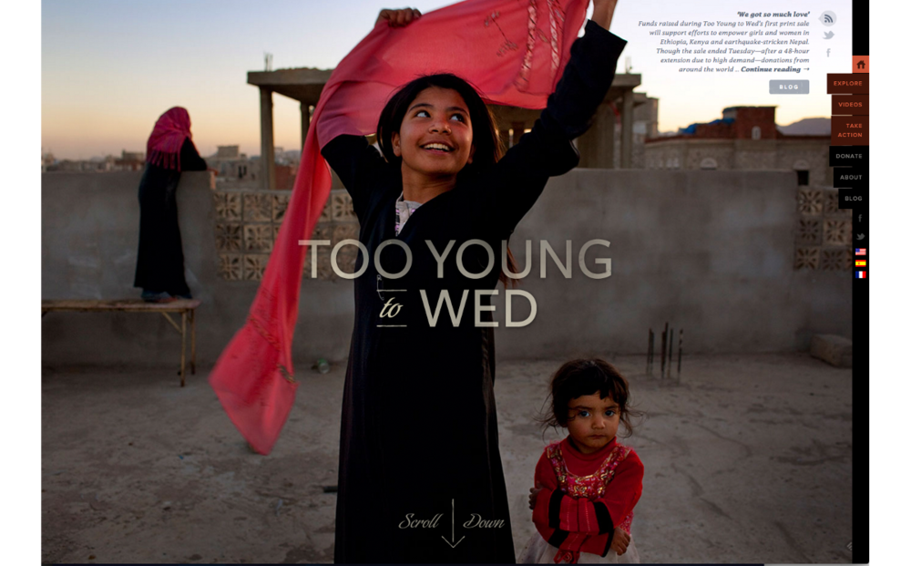 Too Young to Wed: Good fullscreen use of the right photos and a catchy title lets users quickly build empathy.