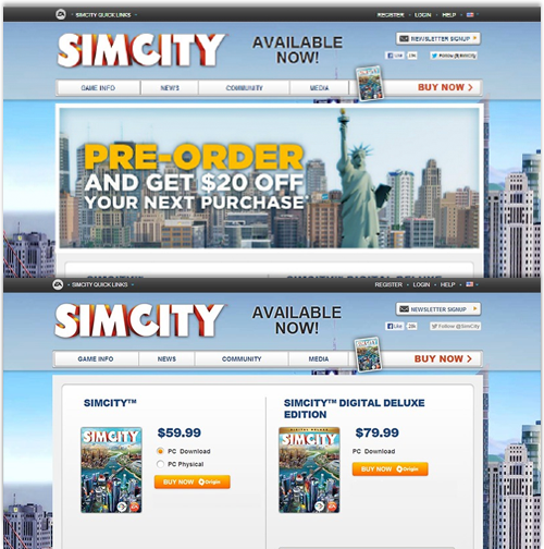 For the launch of Sim City 5,  EA experimented with its order page  and showed how an alternative design could increase conversion by 43%.