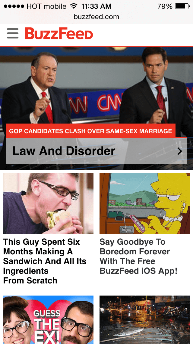 BuzzFeed's mobile view.