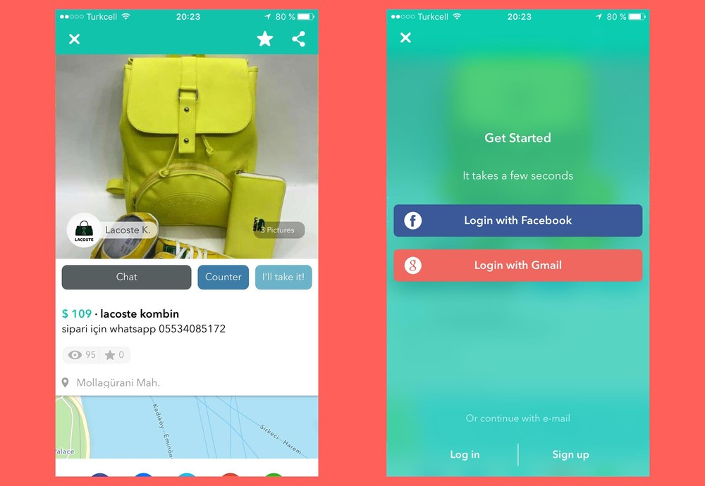 "You can test drive Wallapop (left), and it shows you the Login and Signup screen only when it really needs it to continue, in this case, after taping on ""Chat"" (right)."