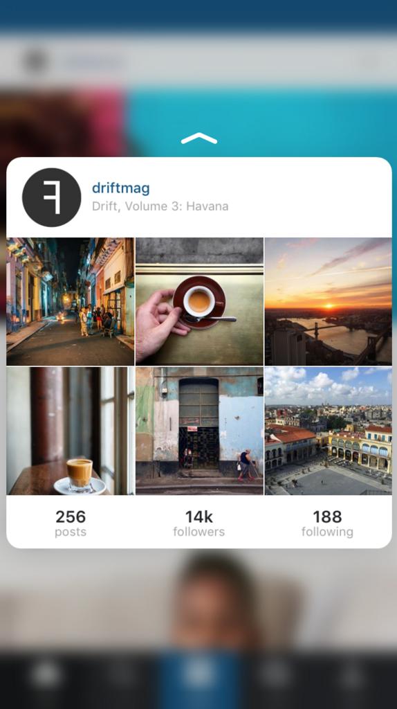 Peeking into an Instagram profile