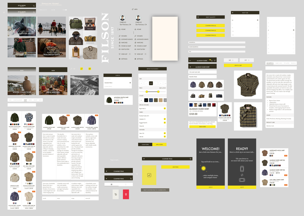 Collection of elements needed to create a high fidelity prototype.