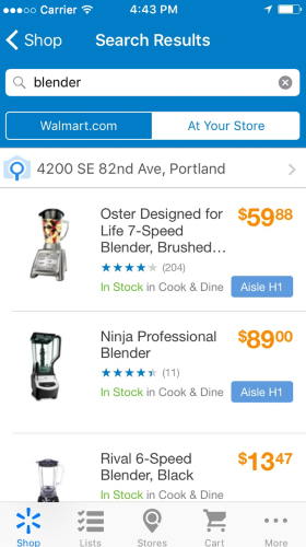 WallMart app for iOS.