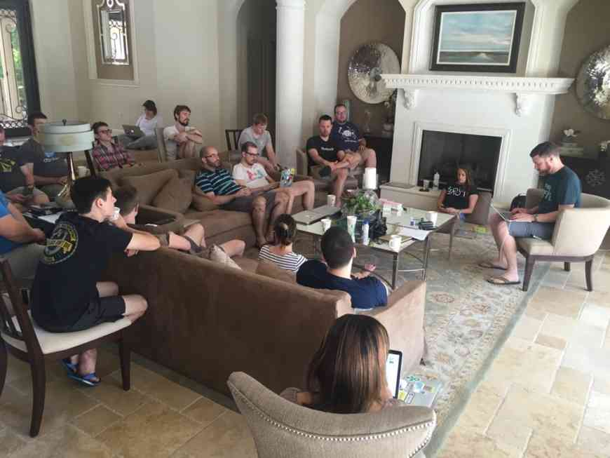 The Postmark team gathered in a living room during our 2016 company retreat to kick off our Postmark roadmap planning.