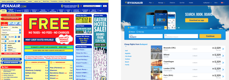 Ryanair's website in 2008 and now