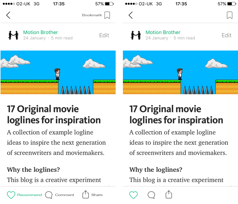 Progressive reduction example using the Medium app