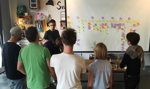 Building a new service for a Fortune 500 company using applied user story mapping. That's me facing the camera.