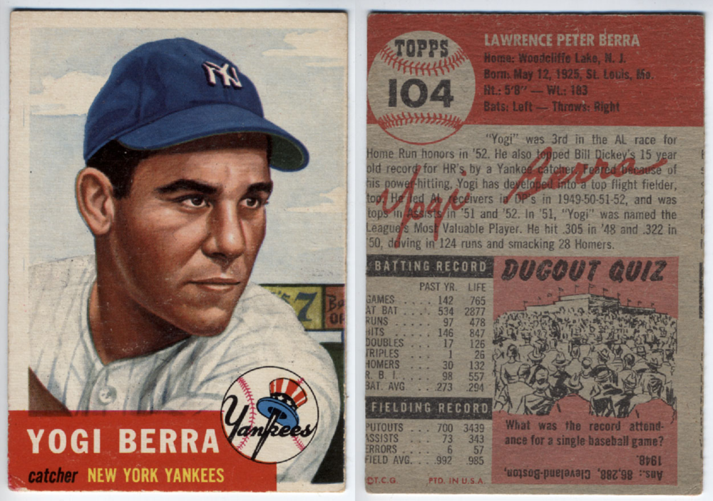 A baseball card is a good example of a card as a real-life object; the basic information of a player is contained on both sides of a small card. Image credit: oldbaseballcards