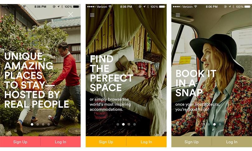 Onboarding screens—Airbnb