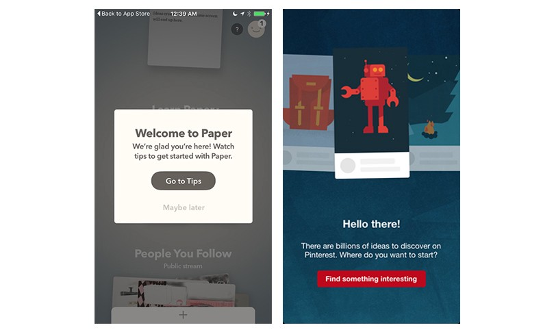 Welcome screen — Paper and Pinterest