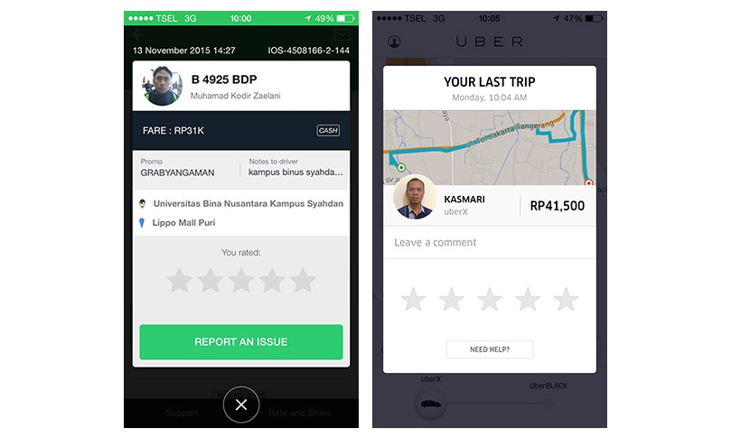 Micro feedback screens — Grabtaxi and Uber