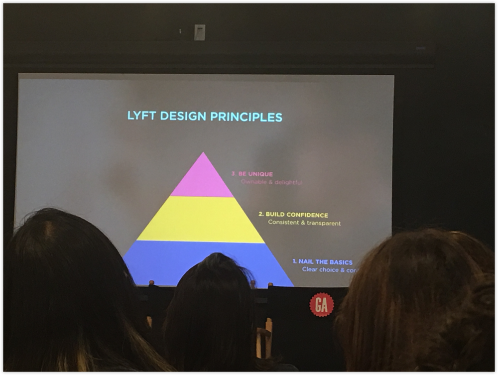 A photo of Lyft's design principles, taken at the workshop