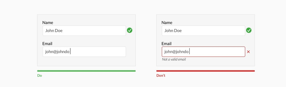 Don't use inline validation while the user is typing —unless it helps them— like in the case of creating a password, username, or message with a character count.