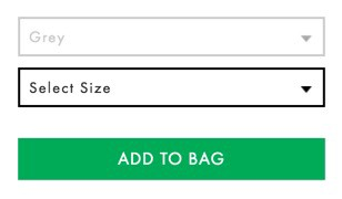 ASOS' product form omits labels on drop downs
