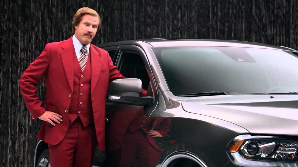 "Sreenshot of ""Dodge Durango Ron Burgundy"" ad:  https://www.youtube.com/watch?v=ocIdLvlLFTs"