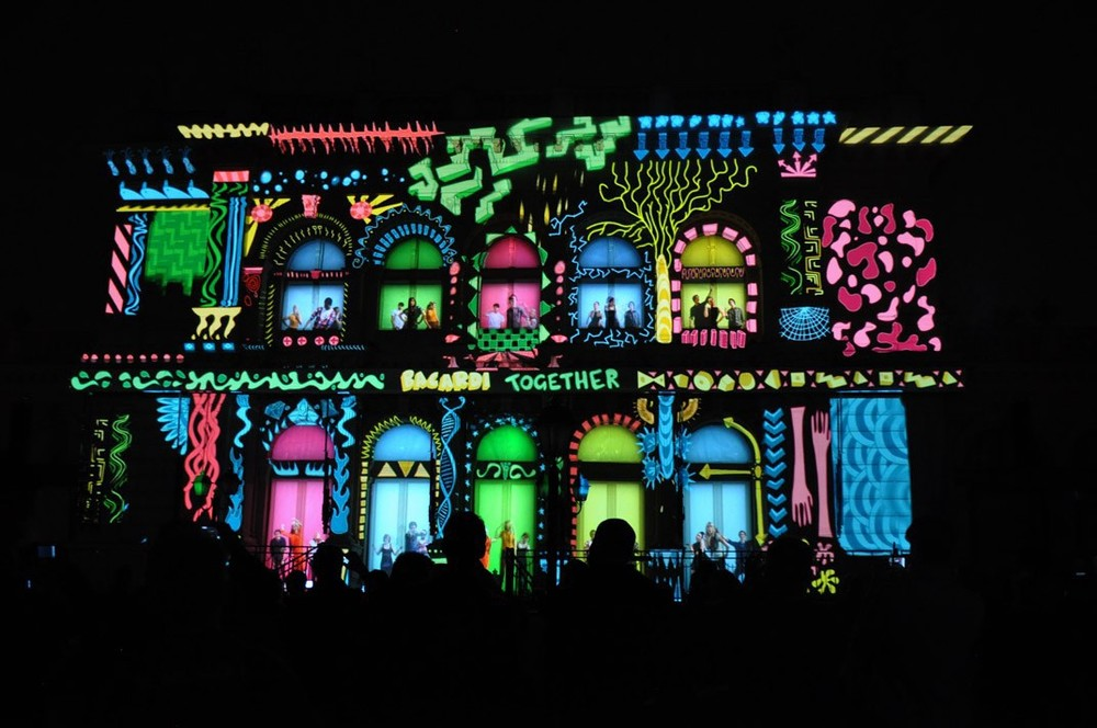 The mapping of lights and the physical elements of the buildings facade.