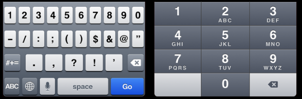 """Number"" keyboard vs. ""tel"" keypad."