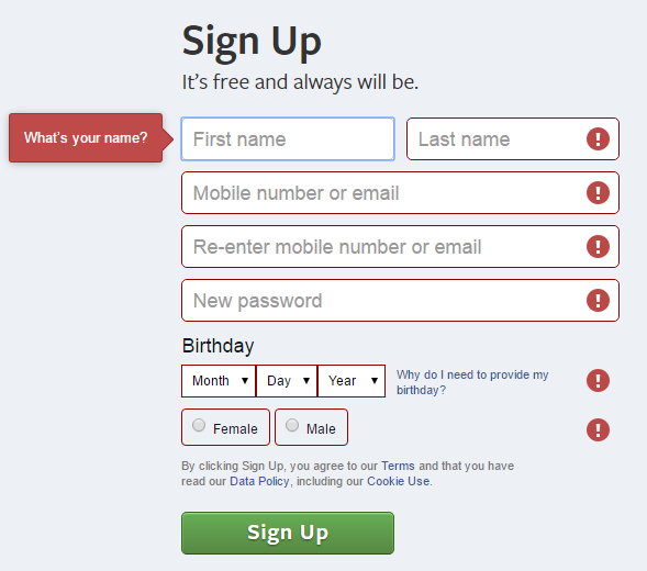 Facebook uses color, icons and text to highlight the problem area in sign up form