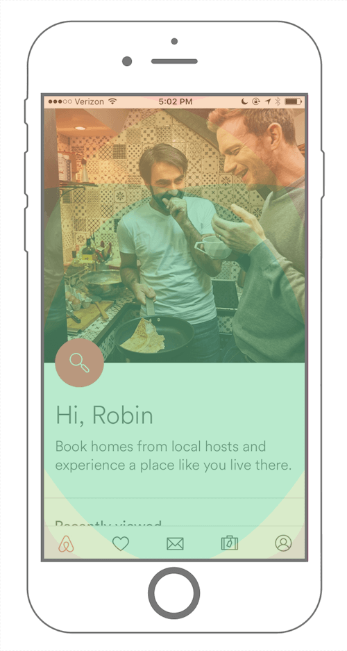Airbnb's mobile app has a fixed footer. ( View large version )