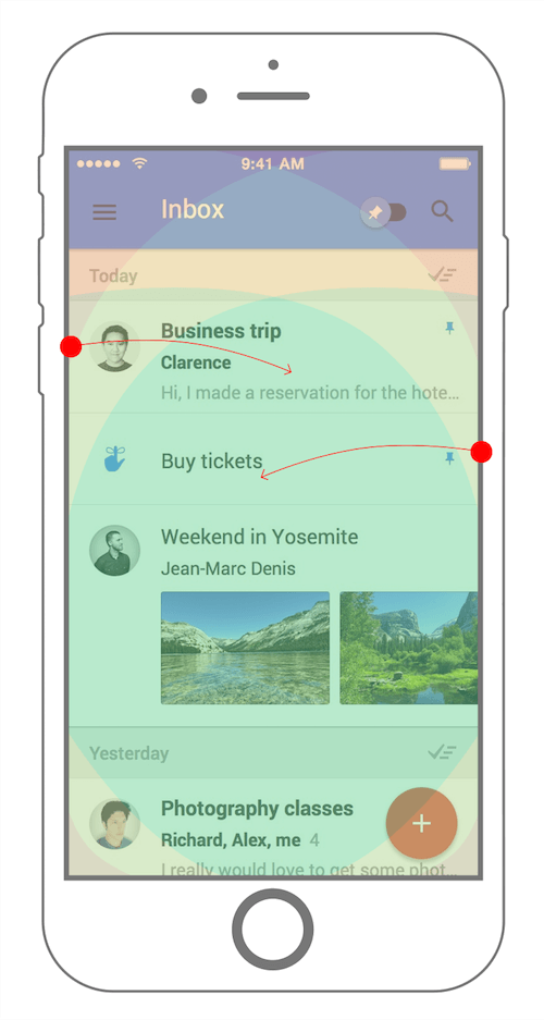 Google Inbox supports swipe gestures in the right places, with the right amount of space. ( View large version )