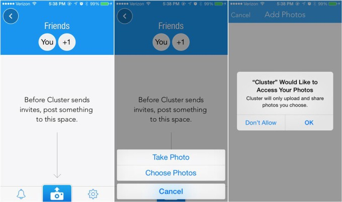 Prompt users to accept permissions only when they try to use the feature. Image credit:Cluster