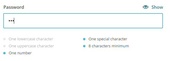 Current password requires 'one special character', 'one number' and it should be 8 characters.