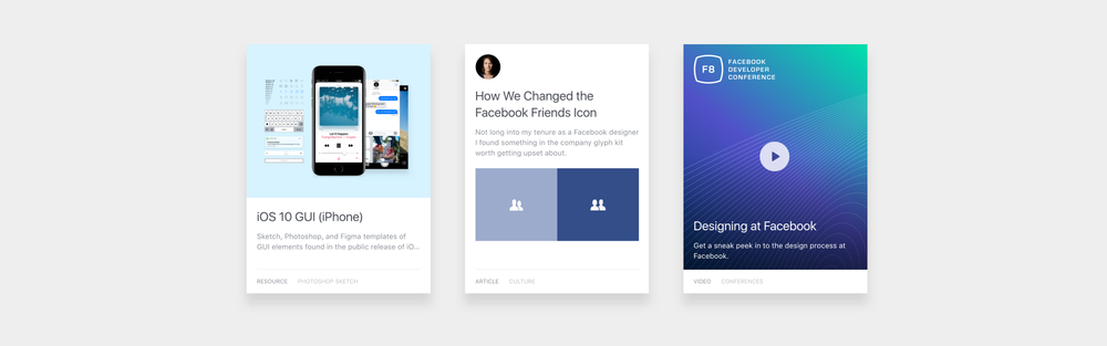 Assets from the updated  Facebook.design featuring tools, writing, and videos