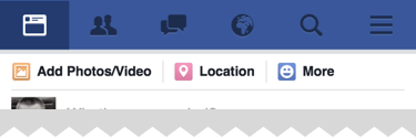 News feed, friend requests, notification, and search is always available in the header, all the remaining functionality is available from the 'more' menu on Facebook