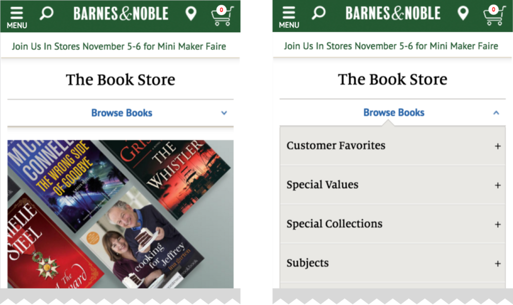 When browsing books, the current category and the navigation/filtering options are always available in a dropdown menu on bn.com