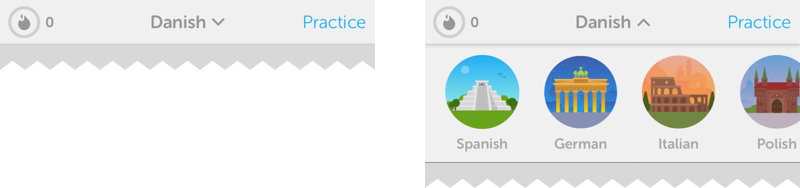 While not a common interaction for most users, Duolingo allows to quickly switch between the languages you practice via a dropdown